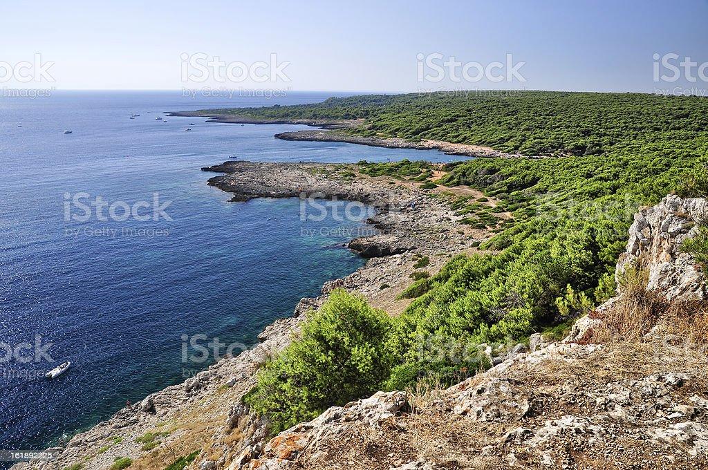 Beautiful sea of Porto Selvaggio royalty-free stock photo