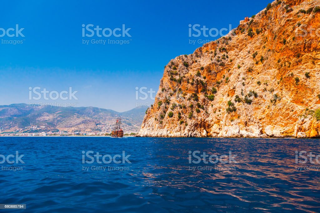 Beautiful sea panorama landscape of Alanya Castle in Antalya district, Turkey, Asia. Famous tourist destination with high mountains. Summer bright day and sea shore royalty-free stock photo