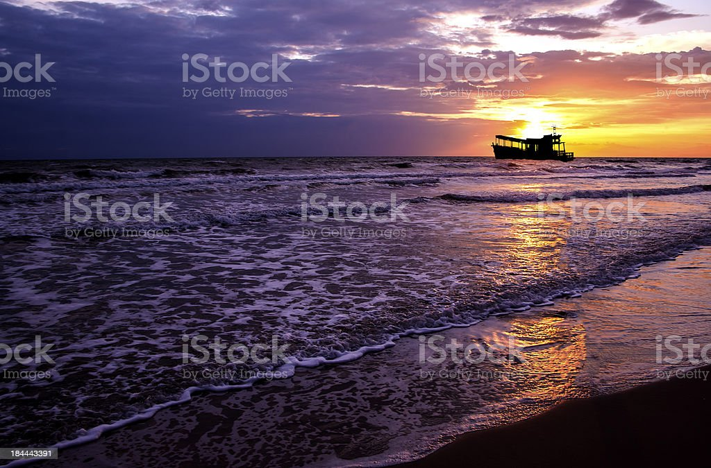 Beautiful sea sunset and ship. royalty-free stock photo