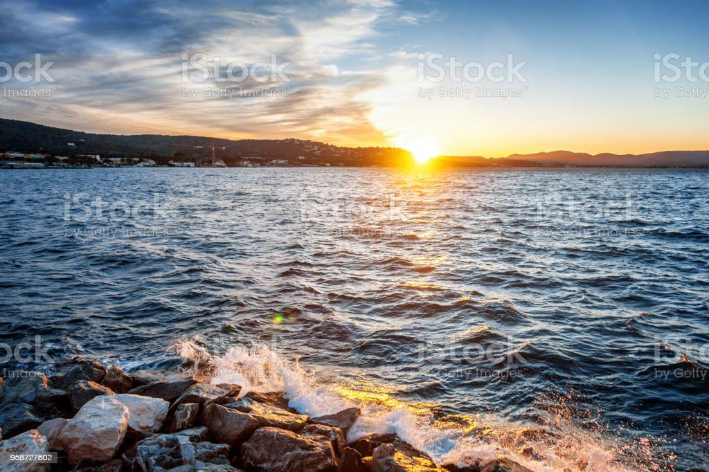 Beautiful sea sunset on the Cote d'Azur in France stock photo