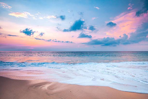Beautiful sea sunset stock photo