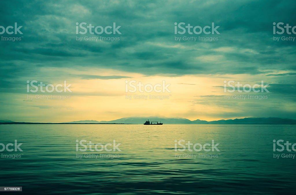 Beautiful sea sunset royalty-free stock photo