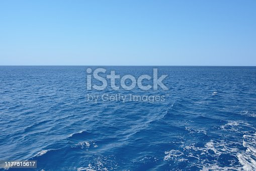beautiful sea view with beautiful water, horizon and clear sky