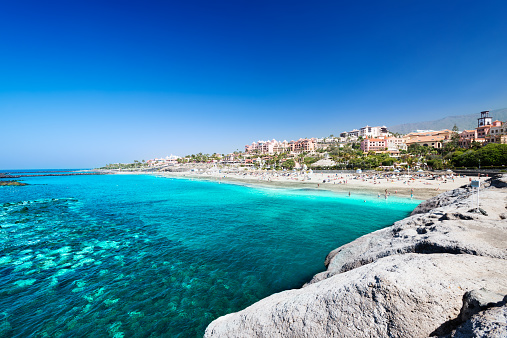 Beautiful sea water of tropical El Duque beach