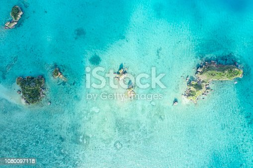 istock Beautiful seas and shallows. Aerial photograph of a small island. 1080097118