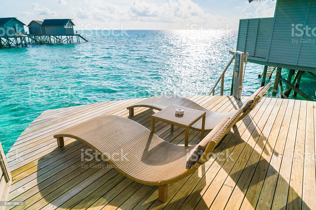 Beautiful seascape in Maldives stock photo