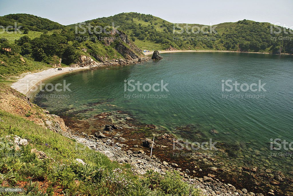 Beautiful seascape, Marble bay, Putyatin island, Far East, Primorye, Russia stock photo