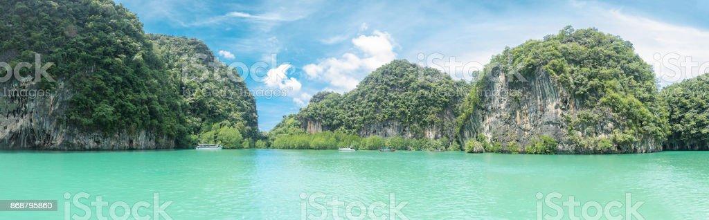 Beautiful Seascape Panorama, Composition Of Nature Lagoon Koh Hong, Krabi, Thailand. stock photo