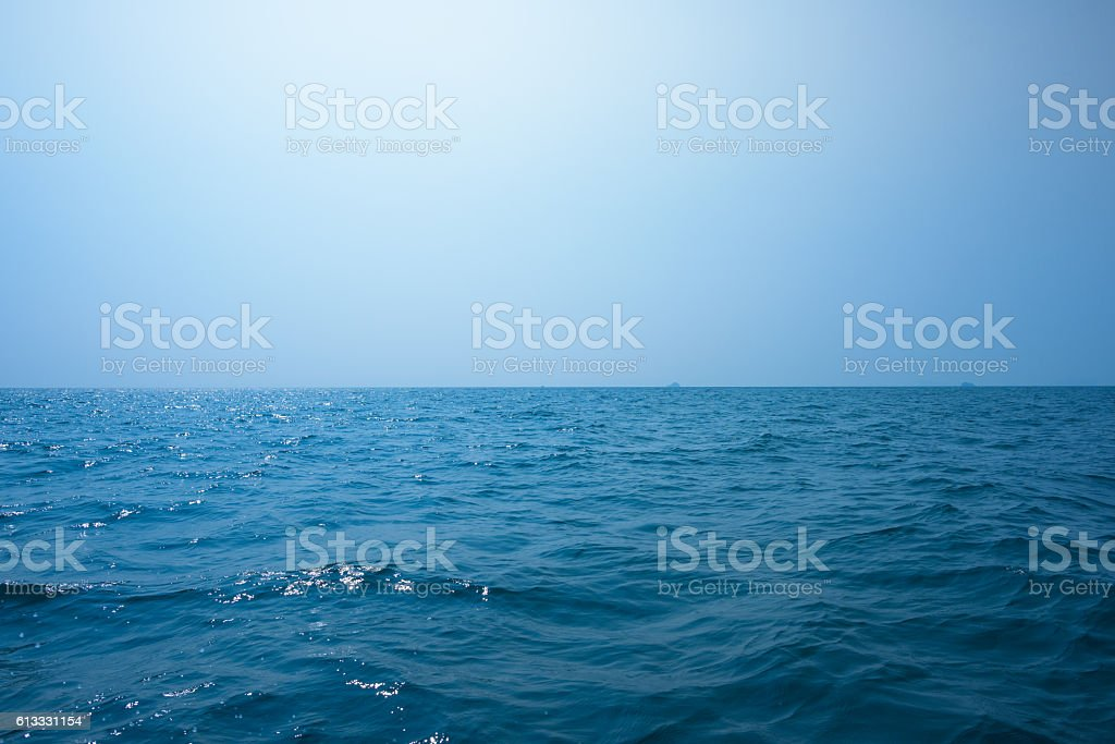 Beautiful seascape under blue sky stock photo