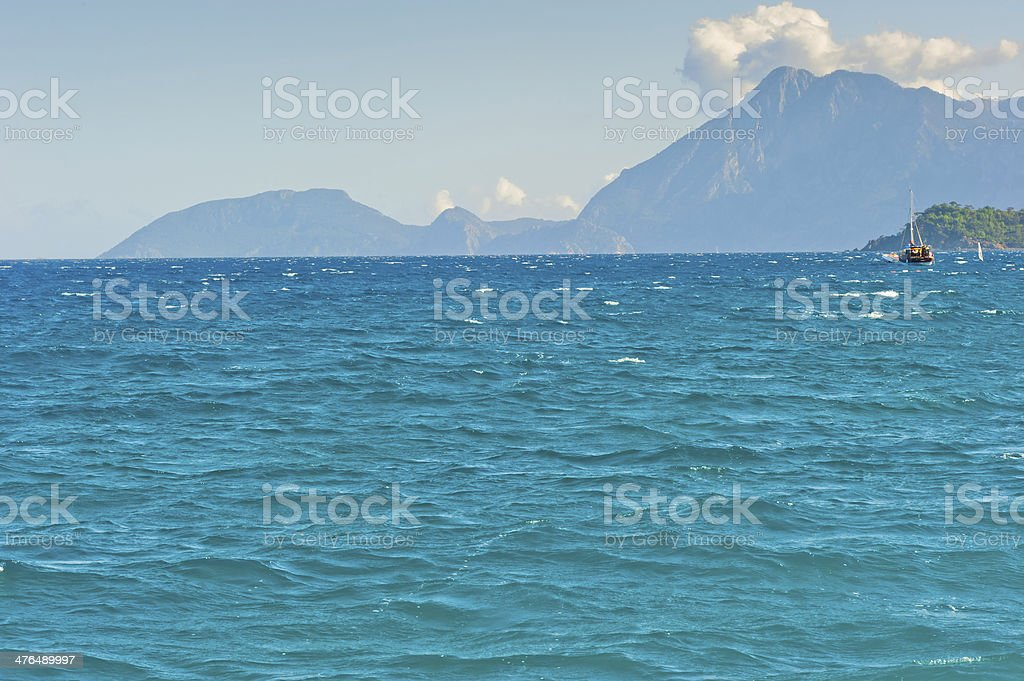 beautiful seascape with mountains in the background royalty-free stock photo