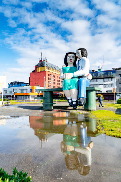 A beautiful seaside park in Puerto Montt port city, Chile. (Sitting in front of the sea) stock photo