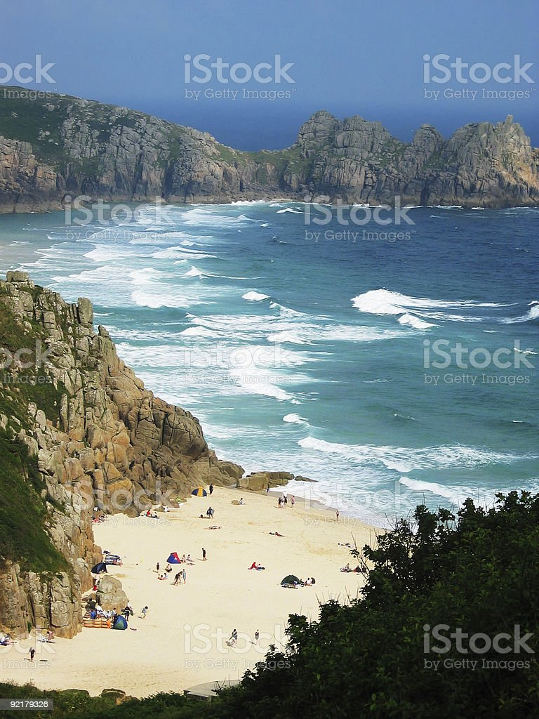 Beautiful seaside with cliffs and big waves in Cornwall, England royalty-free stock photo