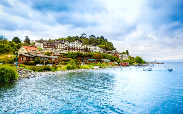 Beautiful seaside with houses stock photo