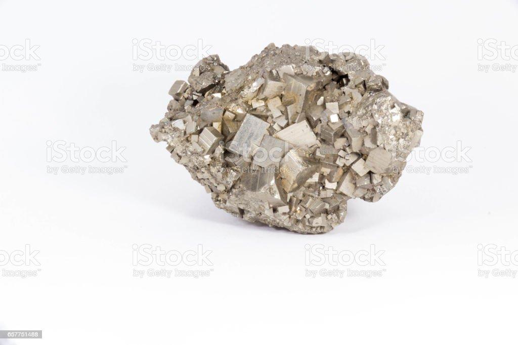 Beautiful semiprecious stone pyrite  on a white background stock photo