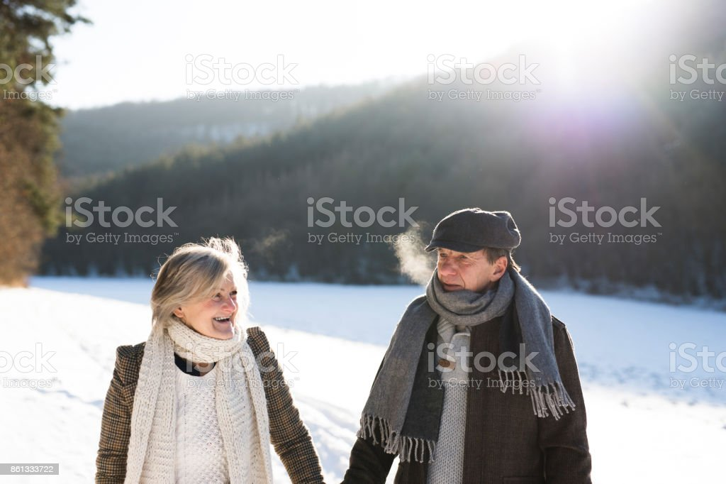 Beautiful senior couple on a walk on sunny winter day royalty-free stock photo