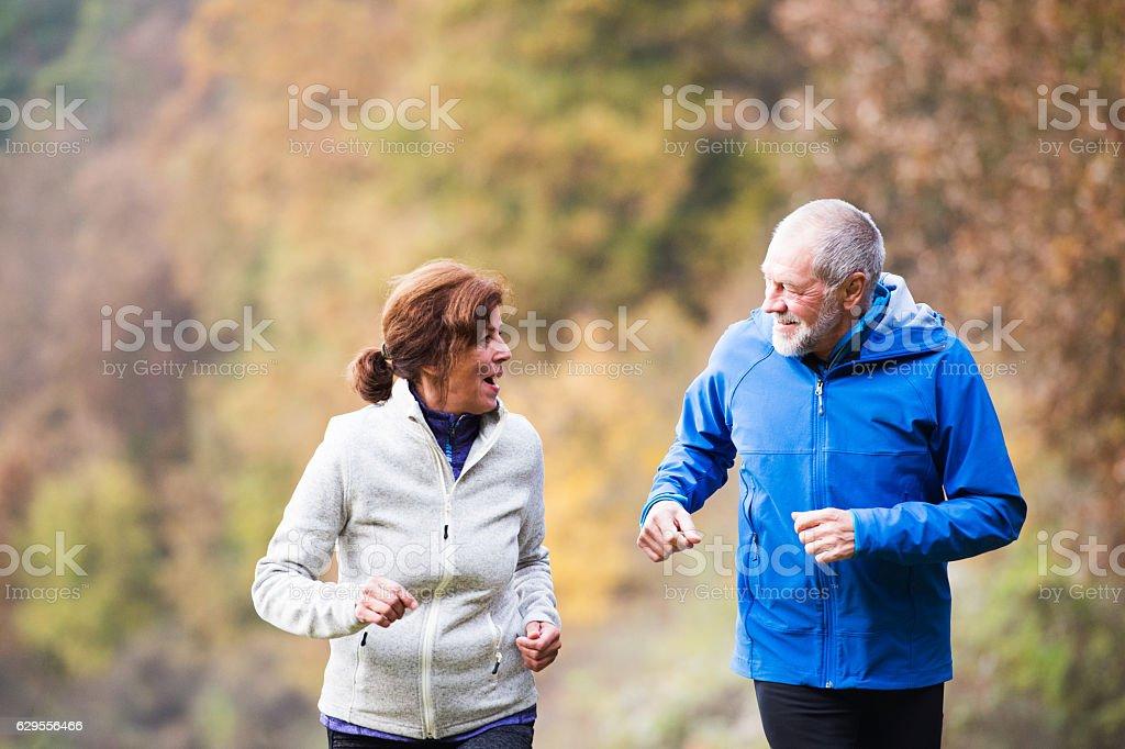 Beautiful senior couple running outside in sunny autumn nature stock photo