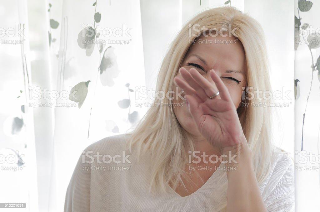 Beautiful senior female smiling stock photo
