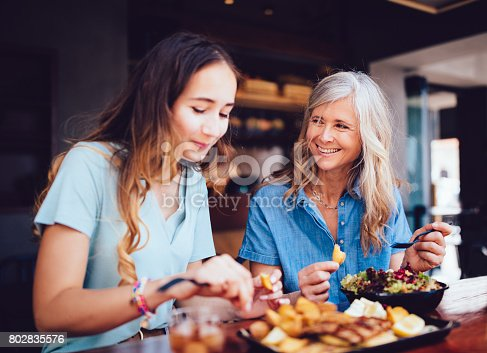 istock Beautiful senior mother and daughter eating lunch together at restaurant 802835576
