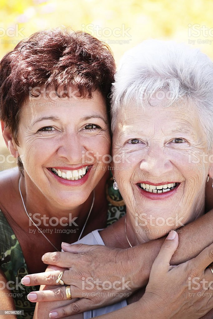 Beautiful senior mother and daughter royalty-free stock photo