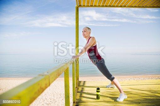 istock Beautiful senior woman exercise 533892010