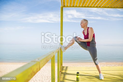 istock Beautiful senior woman exercise 533892110