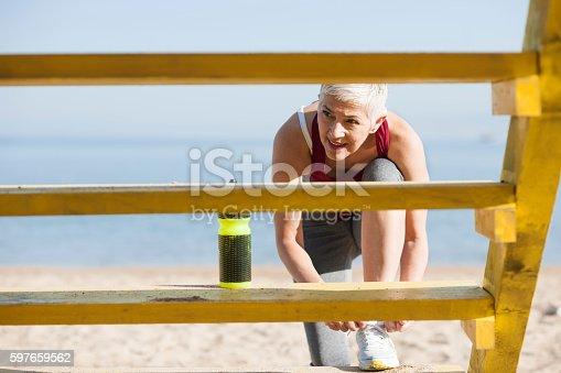 istock Beautiful senior woman exercise 597659562