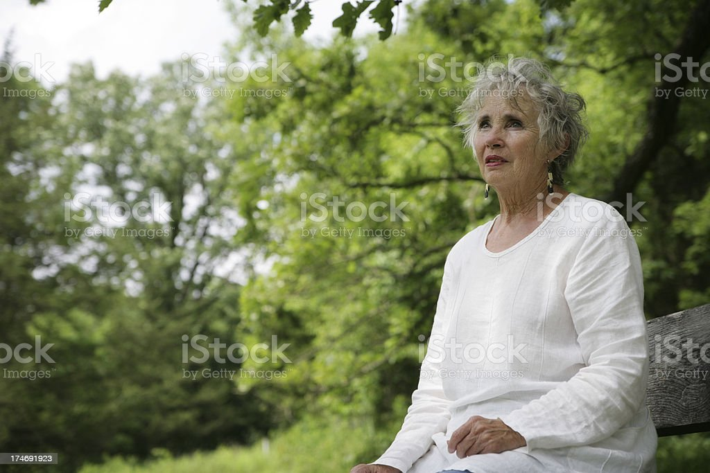 Beautiful Senior Woman Outside in Nature- Concerned Look royalty-free stock photo