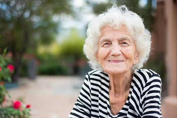 Beautiful Senior Woman Portrait Happy Expression stock photo