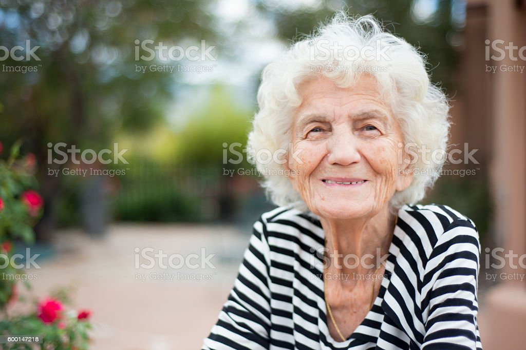 Beautiful Senior Woman Portrait Happy Expression stock photo