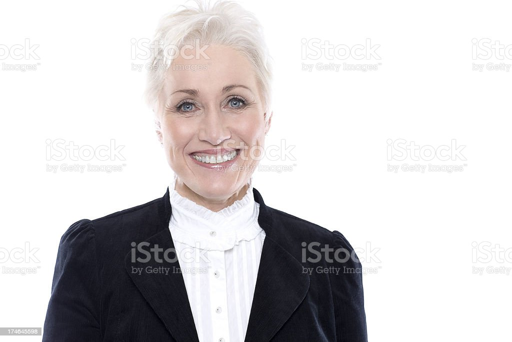 Beautiful Senior Woman Portrait in Suit Jacket on White, Copyspace royalty-free stock photo
