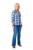 istock Beautiful senior woman standing on white 497115641