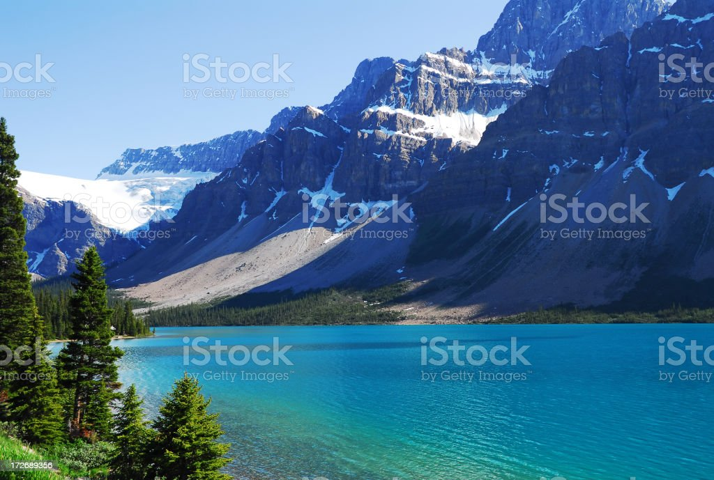 Beautiful, serene Bow Lake beside snow covered mountains.  royalty-free stock photo