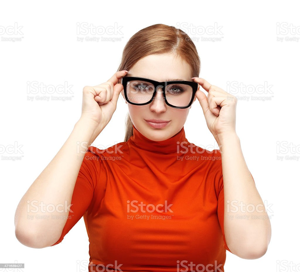 Beautiful  serious woman with glasses. royalty-free stock photo