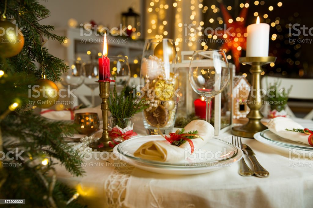 Finland Christmas Decorations.Beautiful Served Table With Christmas Decorations Candles