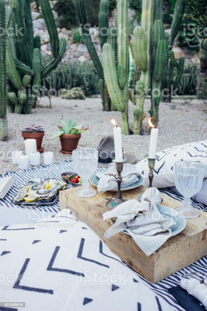 Beautiful setup picnic table stock photo
