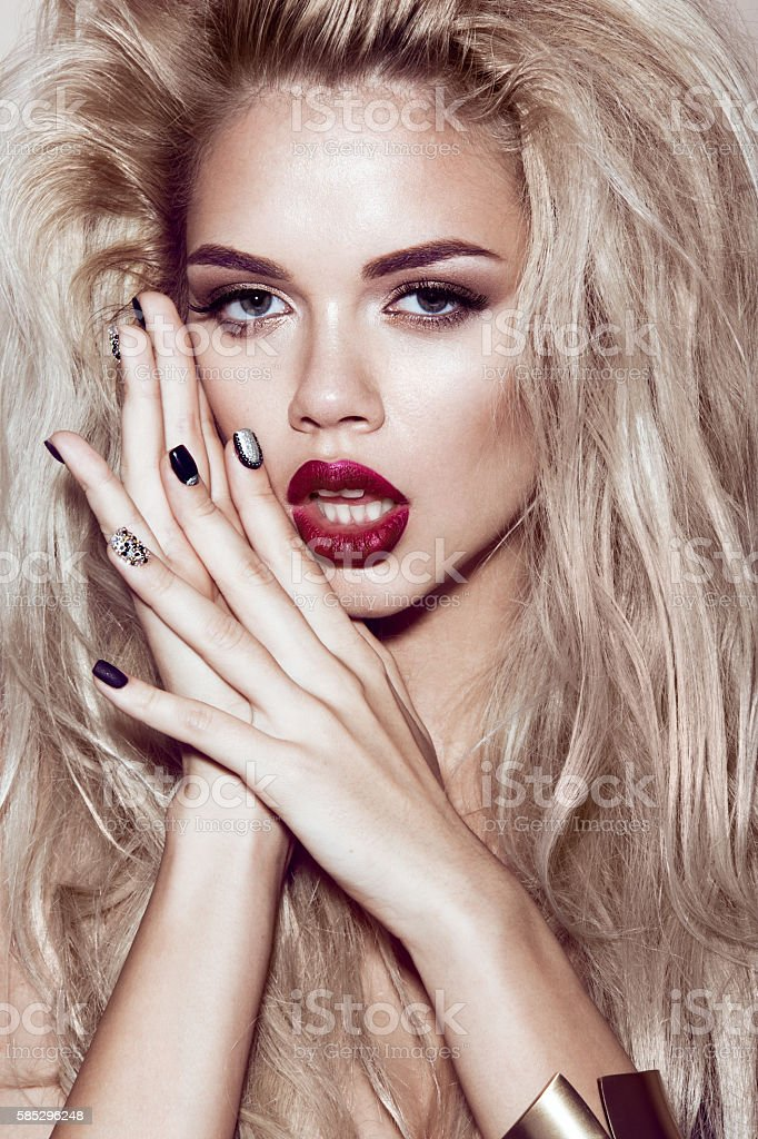 Beautiful Sexy Blonde Girl With Sensual Lips Fashion Hair
