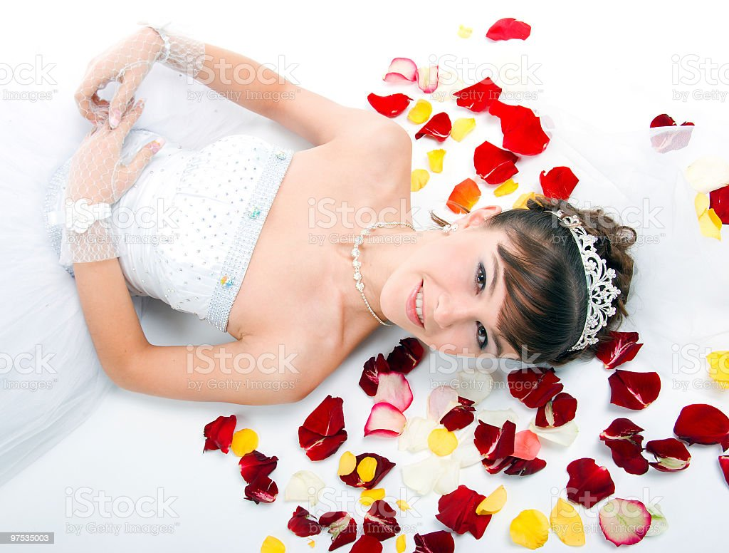 Beautiful sexy bride on  floor among red rose petals royalty-free stock photo
