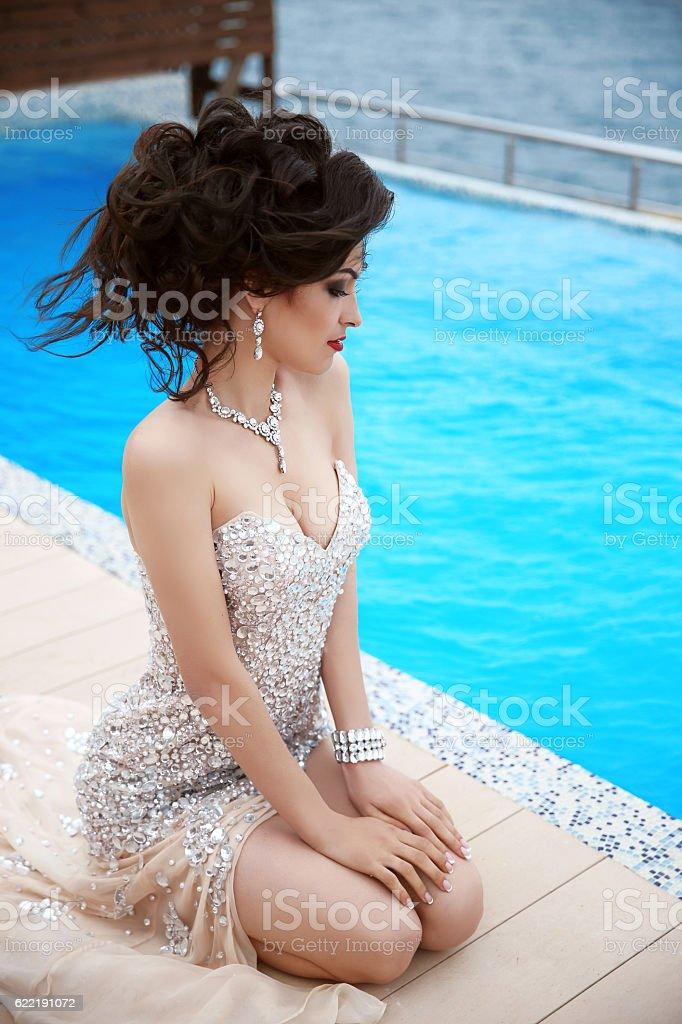 Beautiful sexy brunette elegant model woman in fashion dress stock photo