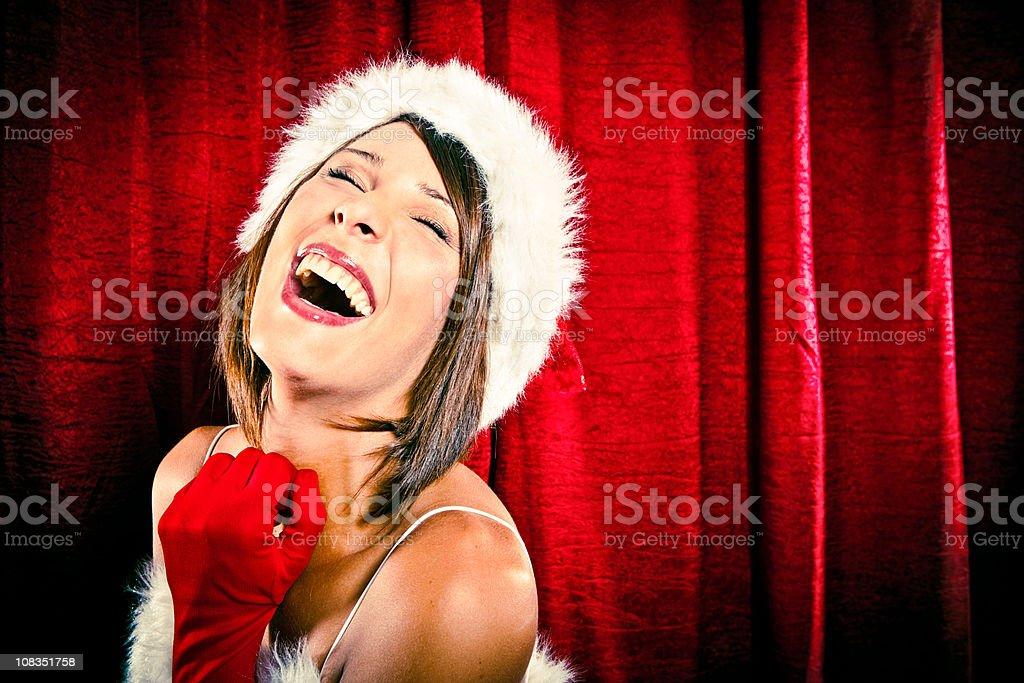 beautiful sexy christmas santa girl close laugh on red backgroun royalty-free stock photo