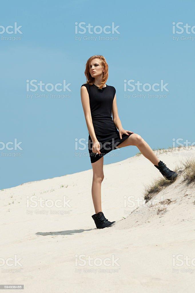 Beautiful sexy girl in a black dress. stock photo