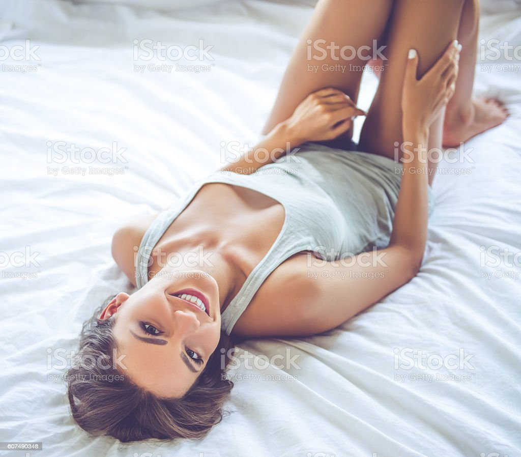 Captivating Beautiful Sexy Girl In Bed Royalty Free Stock Photo