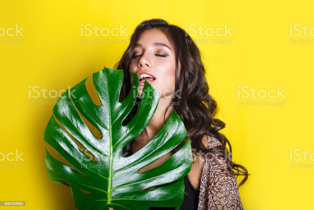 Beautiful Sexy Indian Woman In Bikini With Tropical Plants Beauty