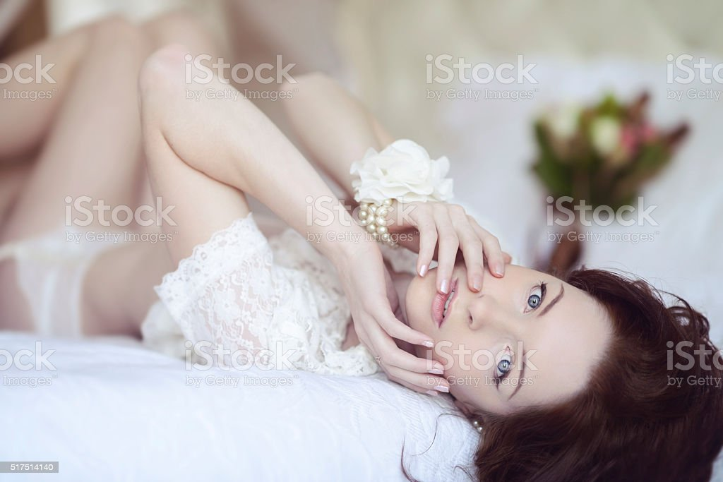 Beautiful sexy lady in elegant white panties and bra - Royalty-free Adult Stock Photo