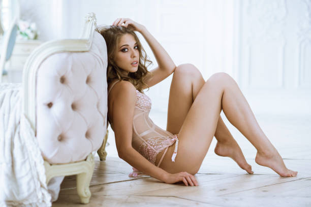 Cтоковое фото Beautiful sexy lady in pink panties and bra