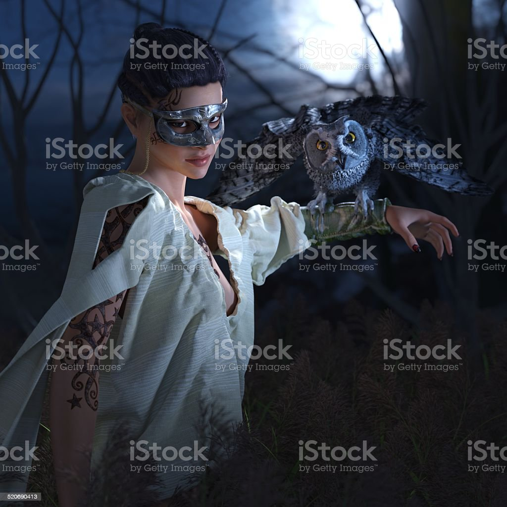 Beautiful sexy witch in mask with owl stock photo