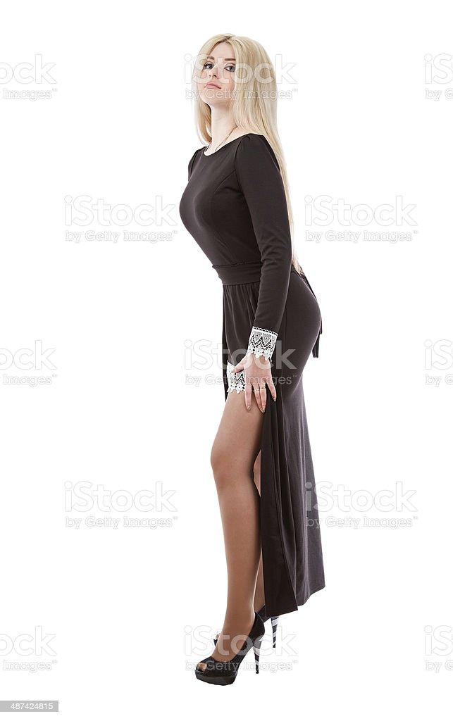 new style e10ca 806bb Bella Sexy Donna In Un Abito Da Sera Nero - Fotografie stock ...