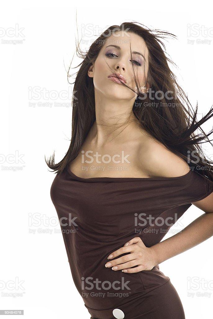아름다운 색시한 여자 - 로열티 프리 갈색 스톡 사진