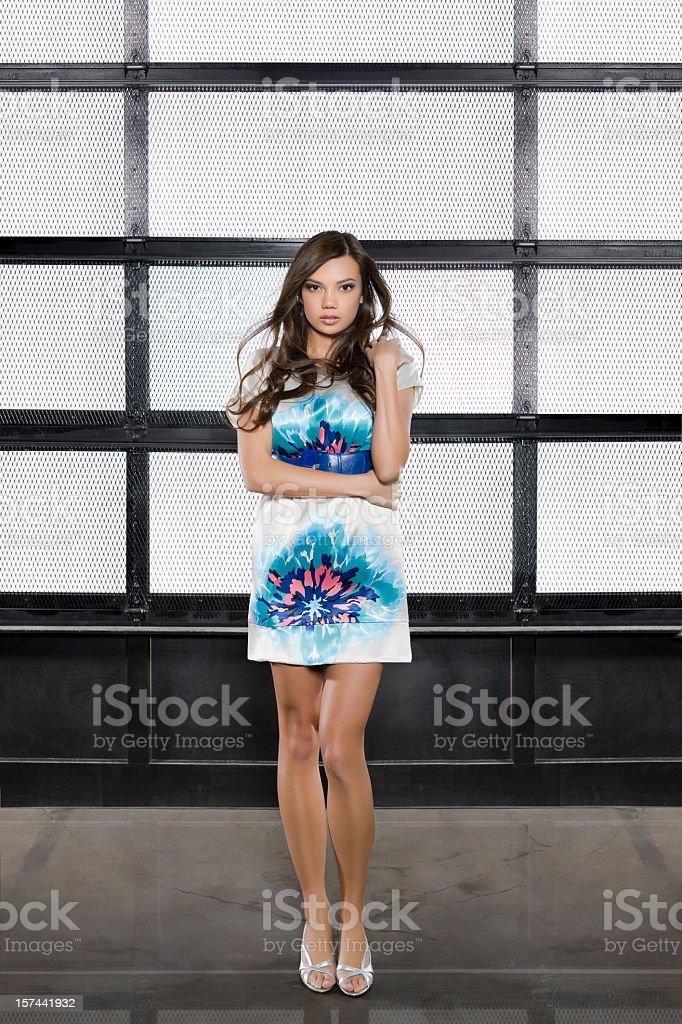Beautiful Hawaiian Young Woman Fashion Model in Short Dress, Copyspace royalty-free stock photo