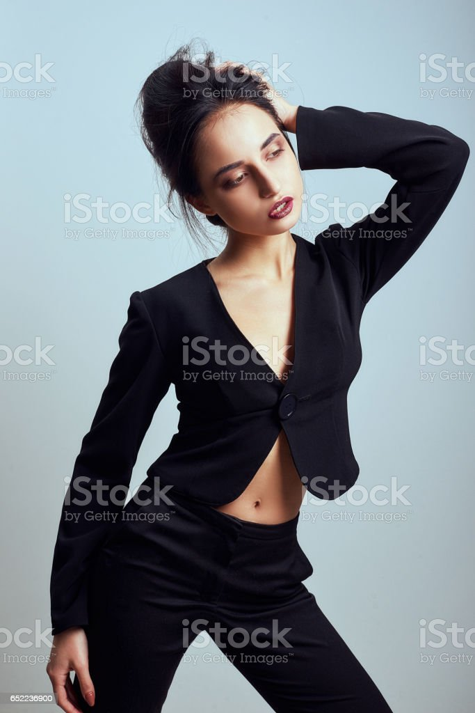 27e6707327784a Beautiful sexy woman wear silk velvet suit clothes for businesswoman office  style casual girl with dark