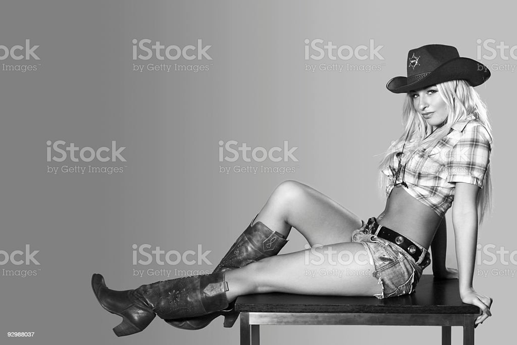 Beautiful sexy woman with cowboy hat stock photo